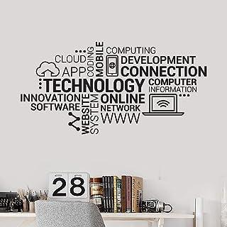 Design internet mobiltelefon dator moln teknologi bokstäver ord väggklistermärke vinyl konst dekal sovrum vardagsrum konto...