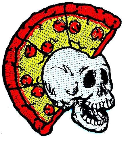 Patch zum Aufbügeln oder Aufnähen, Motiv: Knochen und Pizza, Mohawk Totenkopf, Geister, Lady Rider, Biker, Hippie