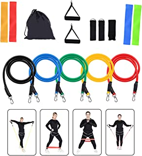 AOKNES Exercise Bands Set (15pcs) for Strength Training, Natural Latex Fitness Resistance Band