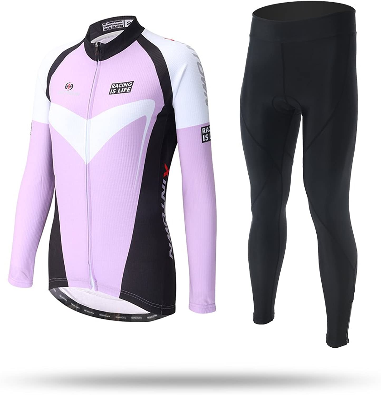 Cycket Ultra Light WeightAutumn Winter Purple Women's Cycling Jersey Bike Long Sleeve Jersey Top + Long Set Bicycle Cycle Shirt Bib Suit