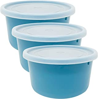 Codil Lot de 3 boîtes de rangement, récipients de cuisine, récipients réutilisables, récipients en plastique, rond bas ave...