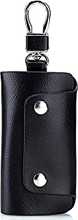 KASTWAVE Unisex Genuine Cow Leather Keychain Bag Men Women Key Holder Organizer Pouch Car Key Case Magnetic Buckle Black