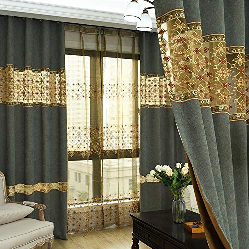 Best Bargain Window Drapes Imitation Cashmere Embroidery Stitching 2 Color Embroidery Yarn Bedroom S...