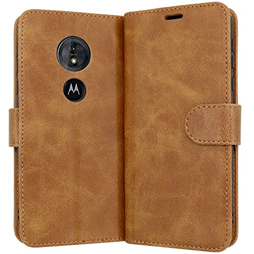 Case Collection Hochwertige Leder hülle für Motorola Moto E5 Hülle mit Kreditkarten, Geldfächern & Standfunktion für Motorola Moto E5 Hülle
