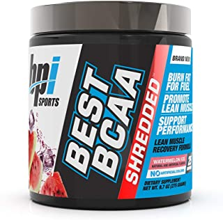 BPI Sports Best BCAA Shredded Caffeine-Free Thermogenic Recovery Formula BCAA Powder Lean Muscle Building Accelerated Recovery - Weight Loss - Hydration - Watermelon Ice - 25 Servings - 9.7 Ounce