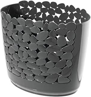 mDesign Decorative Oval Trash Can Wastebasket Garbage Container Bin For Bathrooms Powder Rooms Kitchens Home Offices Charcoal Grey