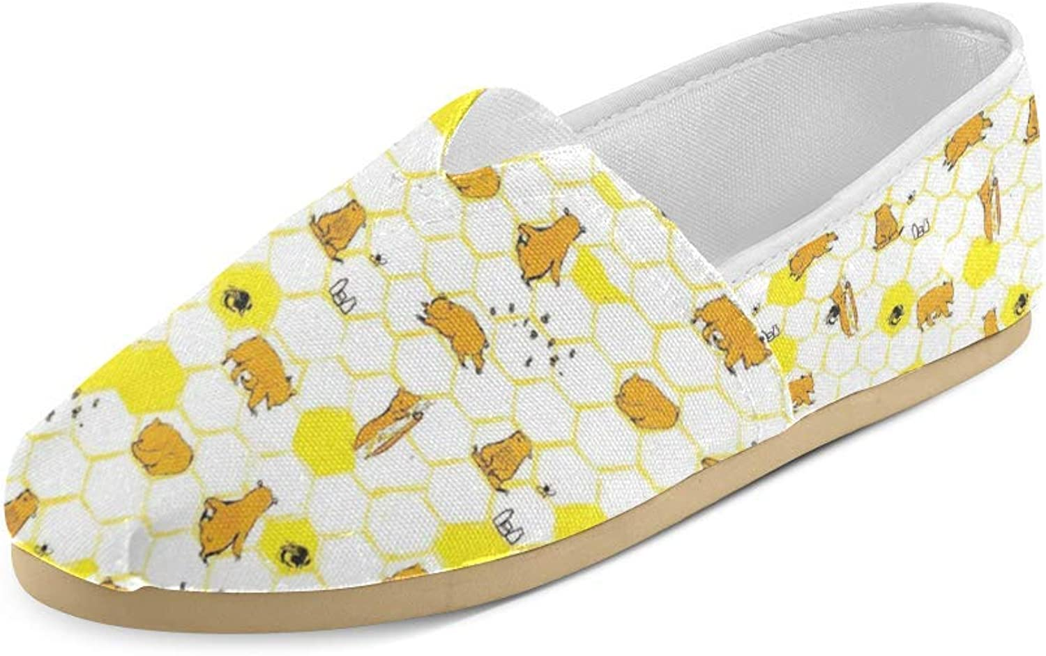 HUANGDAISY Unisex shoes Bear and Honey Casual Canvas Loafers for Bia Kids Girl Or Men