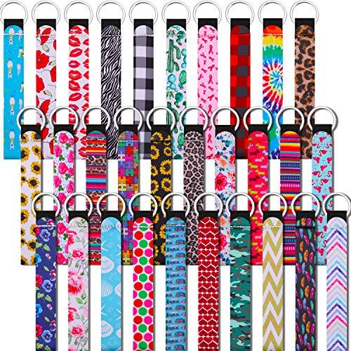30 Pieces Neoprene Wristlet Keychain Lanyard...