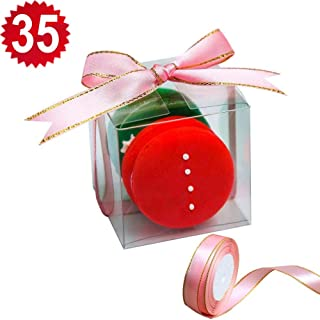 RomanticBking 35pcs Clear Wedding Macaron Boxes With Pink Ribbon, 2.17 x 2.17 x 2.17 Inch Gift Boxes for Candy Cookie Chocolate Donut,Macaron Box for 2 (35, Clear box with ribbon)