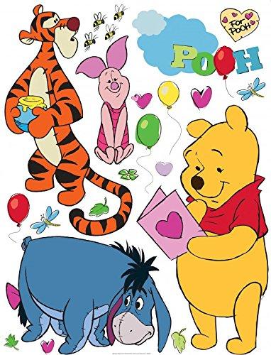 1art1 Winnie Puuh Der Bär - Winnie Pooh with Friends Wand-Tattoo | Deko Wandaufkleber für Wohnzimmer Kinderzimmer Küche Bad Flur | Wandsticker für Tür Wand Möbel/Schrank 30 x 30 cm