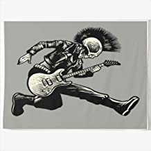 DIYCow Tapestry Wall Decor 60 x 50 Inches Rock Skull Punk Style Guitarist Music Jacket Tapestries Wall Hanging Home Decor for Home Office Bedroom