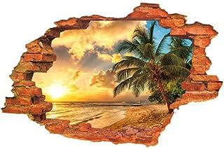 Fangfeen 3D Beach insolazione stereoscopiche Adesivi murali nel Foro del Muro