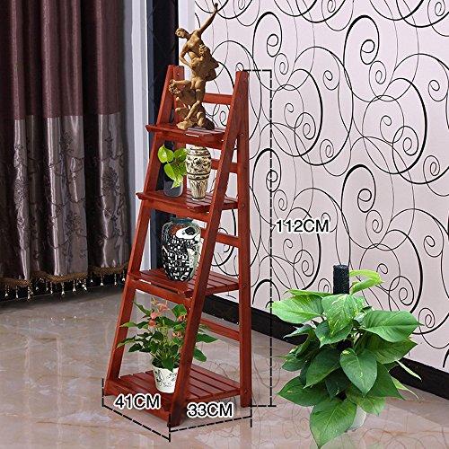Xiaolin- Bois Massif Multi – étages étagère Simple Jardin Intérieur Pliable Pot de Fleurs de Creative Type de Sol étagères (Multicolore en Option) – Cadre de Finition -Flowers