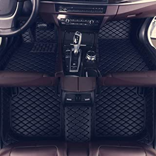 8X-SPEED Custom Car Floor Mats Fit for Audi A4 2010-2014 Full Coverage All Weather Protection Waterproof Non-Slip Leather Liner Set Black