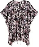 Calvin Klein Women's Standard Printed Drawstring Kaftan Cover-Up, Sunset, L/XL