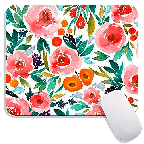 Hokafenle Square Mouse Pad Flower, Watercolor Rose Floral Premium-Textured Custom Mouse Mat Thick,Washable Mousepads Lycra Cloth, Non-Slip Rubber Base Computer Mousepad Personalized for Wireless Mouse