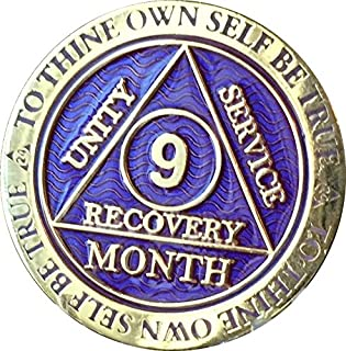 9 Month AA Medallion Reflex Purple Gold Plated Chip