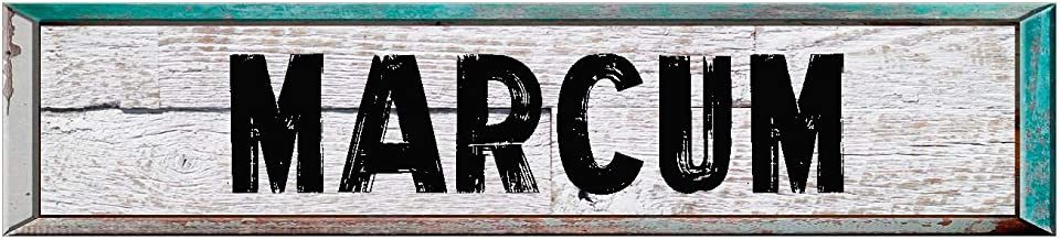 "Marcum 8"" Rectangle White Washed Weathered Painted Wood Look Decal Bumper Sticker for use on Any Smooth Surface"