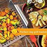Smaid Vegetable Grill Basket - Large Stainless Steel Veg Grill Basket Works On Gas Wok Or Smoker-BBQ Accessories Stir Fry Grilling Fish, Seafood, Kabob, Pizza, Veggies & Fruit-Outdoor Campfire Use