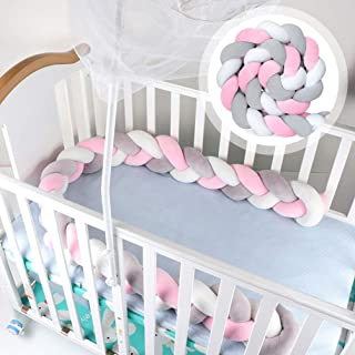 Funmo - Trenzado Cuna Bebe Parachoques 2m, CojíN Largo De Nudo Trenzado Para Bebé, Protector Cuna Bebe Parachoques Cuna (Blanco Gris Rosa)