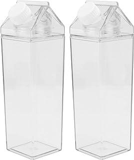 Cabilock Clear Carton Water Bottle 2pcs - Reusable Milk Carton Water Bottle Plastic Lemonade Juice Beverage Jar Ice Tea Bo...