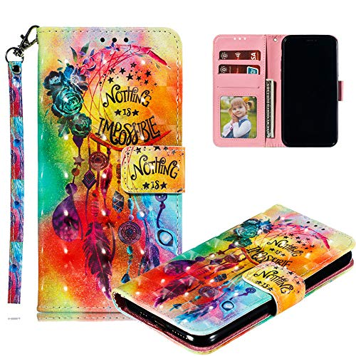 COTDINFOR pour iPhone 11 (6.1 inch) Custodia Cover TPU 3D Effect Painted PU in Pelle con Wallet Card Holder Magnetico Ultrasottile Antiurto Flip Custodia per iPhone 11 Flower Wind Chimes XLL.