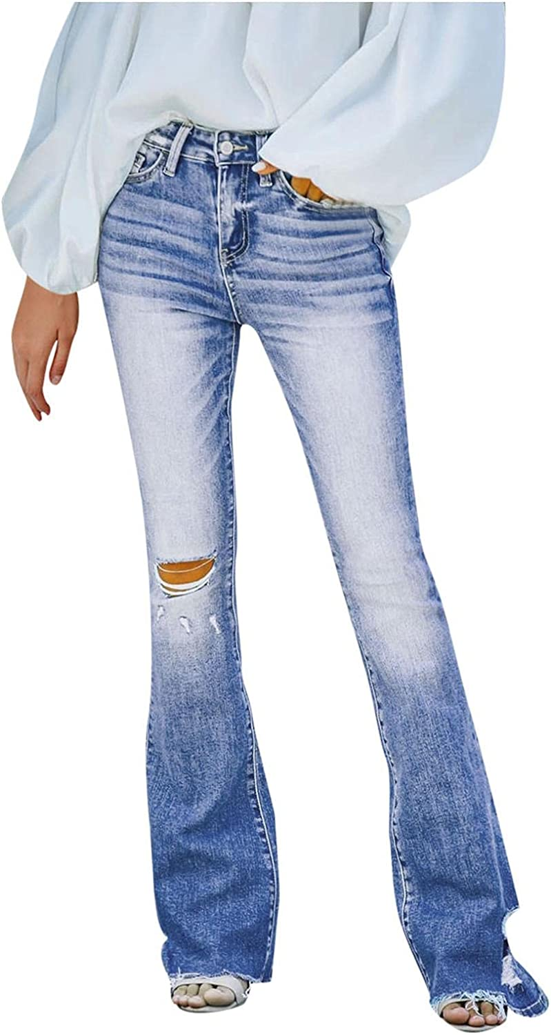FUNEY Ripped Jeans Womens Casual High Waist Stretch Skinny Straight Leg Jean Plus Size Slim Destroyed Hole Denim Pants