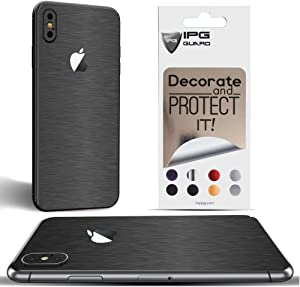 IPG for iPhone Xs MAX Decorative Carbon Fiber Vinyl Back Protector Anti Scratch Skin Guard - 3D Surface - Bubble -Free Easy to Install (Dark Brushed Aluminum)