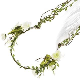 Adjustable Bridal Flower Garland Headband Flower Crown Hair Wreath Halo F-83