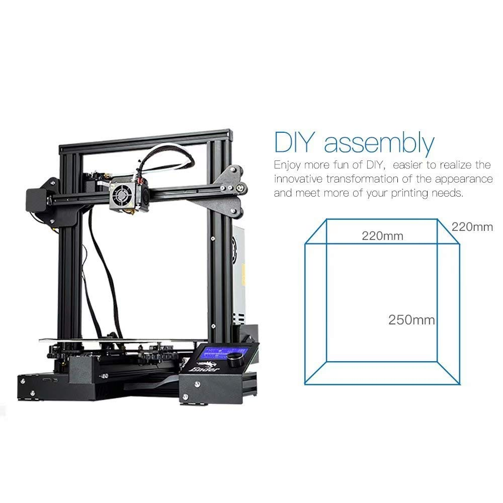 Laecabv Creality Ender 3 Pro 3D Printer with Newly Soft Magnetic Sticker FDM Resume Print Power Off Heat 5 Min Print Size 220x220x250mm