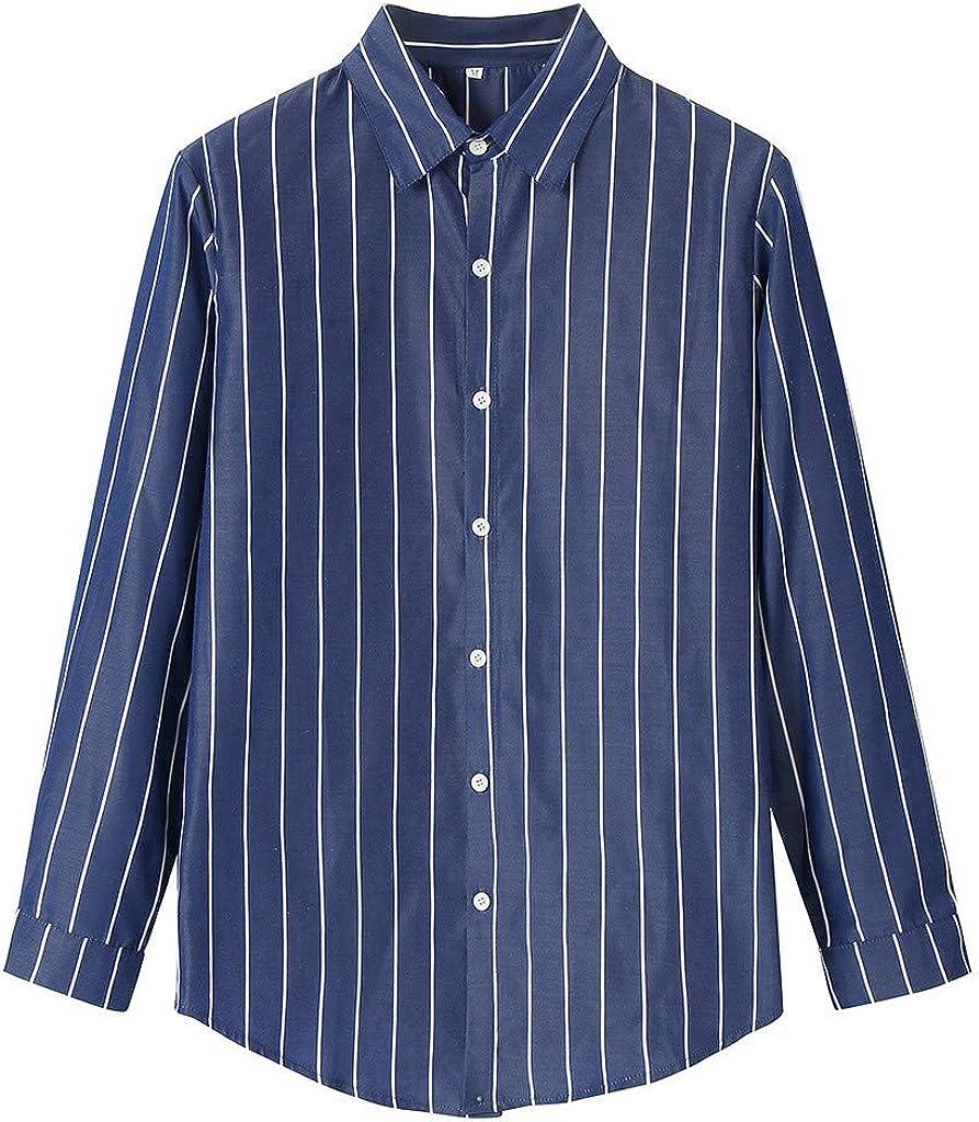 MODOQO Men's Button Down Shirts Long Sleeve Casual Stripe Loose Fit Dress Shirt