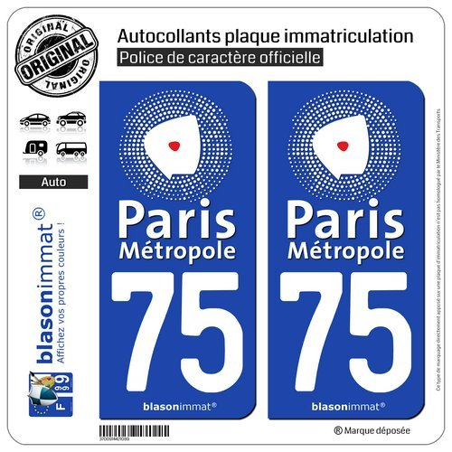 blasonimmat 2 Autocollants Plaque immatriculation Auto 75 Paris - Métropole