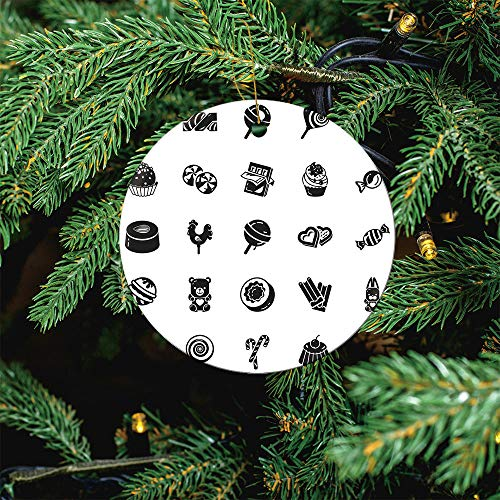 ALUONI Sweet Candy Icon Christmas Ornaments 2020 Christmas Ceramic Pendant Personalized Creative Christmas Decorations Double Sided Christmas Tree Ornament SW42947 1PCS