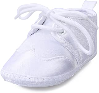 OOSAKU Baby Boys White Lace up Christening Baptism Dress Shoes