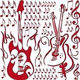 GRAZDesign Wandaufkleber Wanddeko Gitarre Noten Set - Deko Wohnzimmer modern Geige Violinschlüßel - Wandtattoo Wohnzimmer Musiker Geschenk / 57x57cm / 770068_57_031