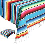 Eccbox 84 X 59 Inch Large Mexican Serape Blanket with Assorted Bright Colors Mexican Tablecloth for Mexican Wedding Party Decorations (Blue)