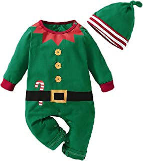 Christmas Kids Toddler Baby Boys Girls Xmas Romper Outfit Santa Claus Elf Costumes Bodysuit Jumpsuit Clothes Set