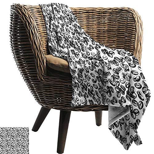ZSUO Custom deken Koffie, Zwarte Java Plant Zaden Verspreid op Witte Beker van Fresh Joe Espresso, Zwart Wit Gezellige en Duurzame Fabric-Machine Wasbaar