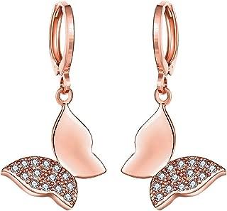 Butterfly Drop Hoop Earrings Plated 18k Rose Gold, Small Butterfly Stud Earrings for Women Teen Girls Butterfly Earrings, by DreamSter (Earrings)
