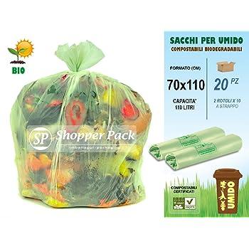 50 sacchi a strappo biodegradabili e compostabili robusti 110 litri 72x110
