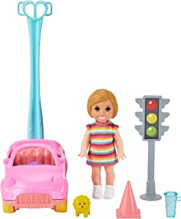 Barbie Skipper Babysitters Inc. Accessories Set with Small Toddler Doll & Toy Car, Plus Traffic Light, Cone, Cup & Lion To...