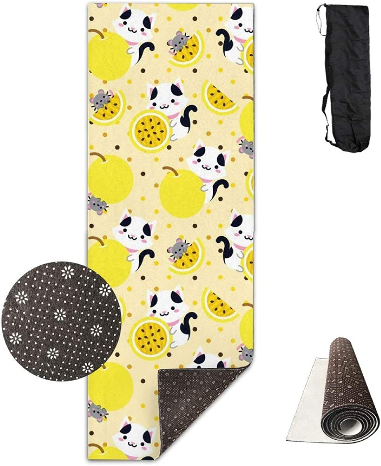 Non Slip Yoga Mat,Passion Fruit Cat and Mouse 3D Print 71X24 Inch Velvet with Carrying Strap