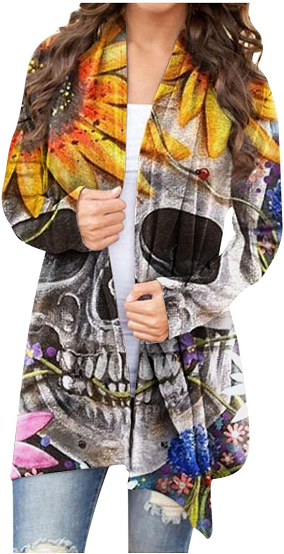 Open Front Cardigan for Women Long Sleeve Thin Cardigan Coat Skeleton Print Halloween Shirt