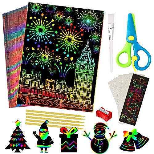 Vykor 50 Blatt Kratzkunst für Kinder, 12,4 x 18 cm, schwarz, magische Kratzkunst, Notizen, Papiertafeln, Geschenke für Kinder zum Malen lernen