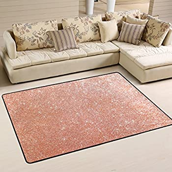 ALAZA Non Slip Area Rug Home Decor Stylish Rose Gold Stars Durable Floor Mat Living Room Bedroom Carpets Doormats 36 x 24 inches