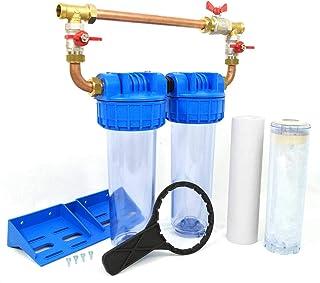 """Double porte filtre à eau 9""""3/4-20/27F avec cartouche 20µm + Polyphosphate + by-pass"""