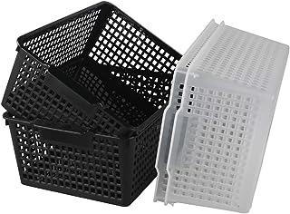 Lesbye Grand Panier de Rangement Rectangulaire Ensemble de 4, Noir et Transparent, Paniers de Rangement Plastic