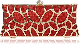 Runhuayou Ladies Metal Openwork Dinner Clutches European & American Banquet Eventide Dresses Clutch Bags Black/Red/Amber/Silver Great for Casual or Many Other Occasions Such (Color : Red)
