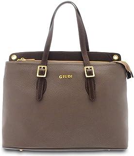 GIUDI ® - Borsa Donna in pelle vitello martellato, vera pelle, Made in Itali, tracolla. (Taupe/Mogano)