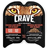 Crave Grain Free Adult Wet Cat Food Chicken & Beef Recipe Cuts In Gravy, (24) 2.6 Oz. Twin-Pack Trays